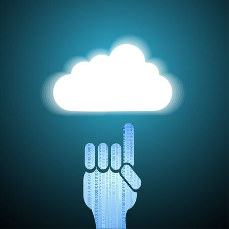 Vector computer cloud with hand on blue. Eps10 Stock Vector - 13743404