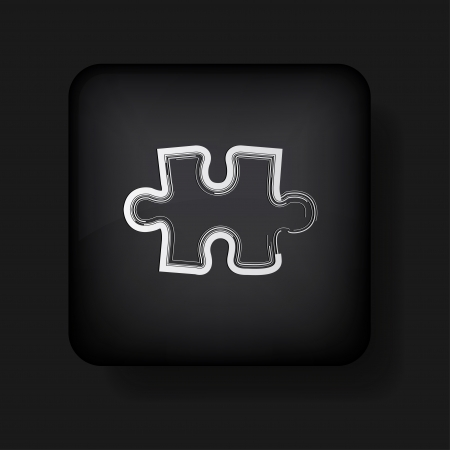 abstract puzzle icon on black Stock Vector - 13759359