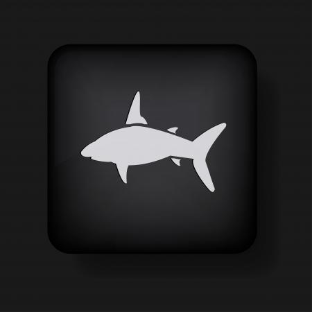 shark icon on black Vector