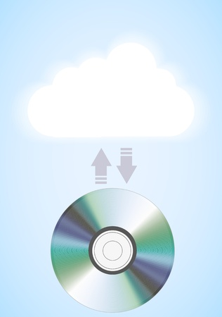Vector computer cloud with disc on blue. Eps10 Vector