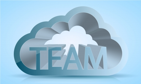 computer cloud team on blue Stock Vector - 13871211