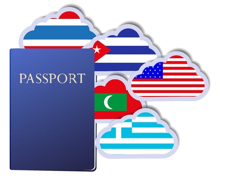 concept of the passport and countries of the world in the form of clouds. Vector
