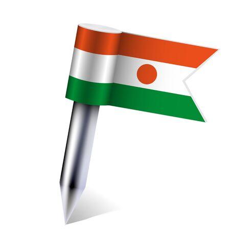 niger: Niger flag isolated on white Illustration