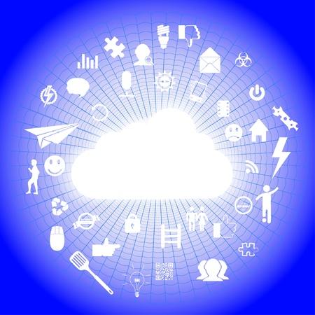 icons on cobweb. Stock Vector - 13972616