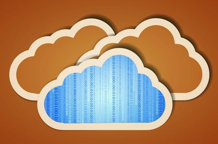 creative computer cloud with binary code.  illustration Vector