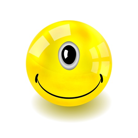 silly:  one-eyed yellow face isolated on white.
