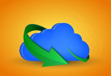 computer cloud with arrow on orange background. Vector