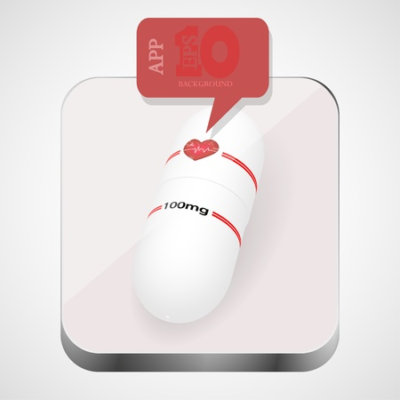 pill app icon with red bubble speech. Vector