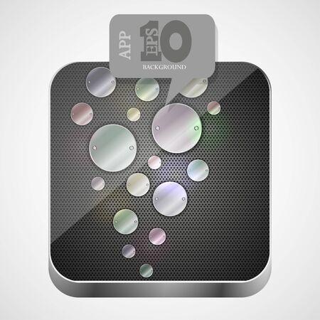 metal app icon with gray bubble speech. Stock Vector - 14017267