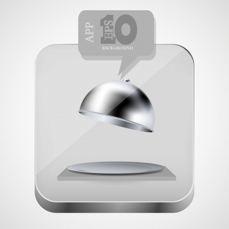 open tray app icon with gray bubble speech.  Vector