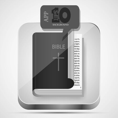 new testament:  Bible app icon with black bubble speech.