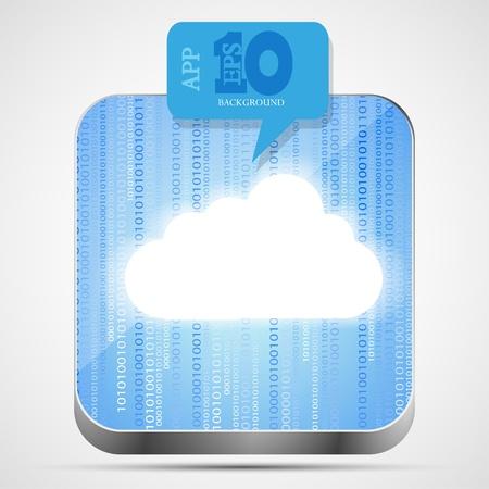 Vector cloud app icon with blue bubble speech. Eps10 Stock Vector - 14073572