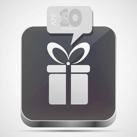 Vector gift app icon with gray bubble speech. Eps10 Vector
