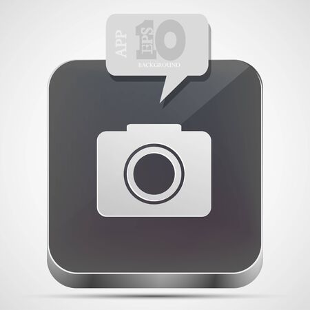 camera app icon with gray bubble speech. Vector