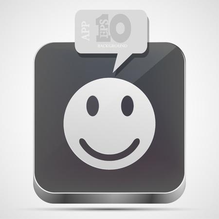Vector face app icon with gray bubble speech. Eps10 Vector