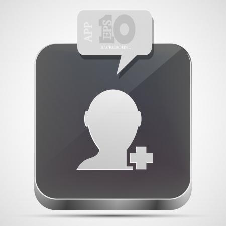 add friend app icon with gray bubble speech.  Vector
