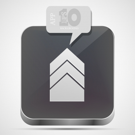arrow app icon with gray bubble speech. Vector