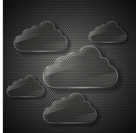 glass computer clouds background. Stock Photo - 14073630