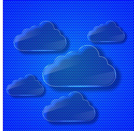 creative glass computer clouds background. photo