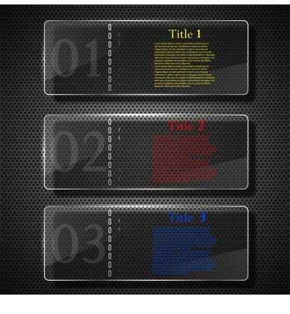 Vector glass website design elements set. Eps 10 Vector