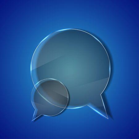 circle glass bubble speech on blue background. photo