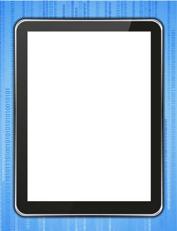 realistic computer tablet on binary code background. Vector
