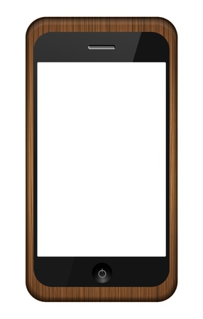 smartphone in a wooden cover isolated on white. Vector