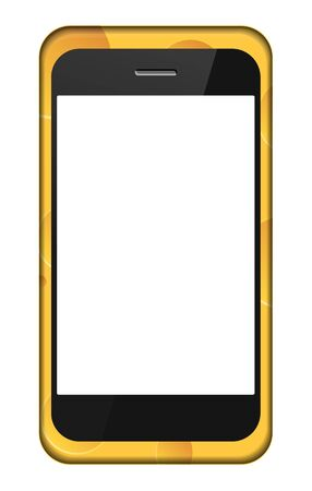 smartphone in a cheese cover isolated on white.  Vector