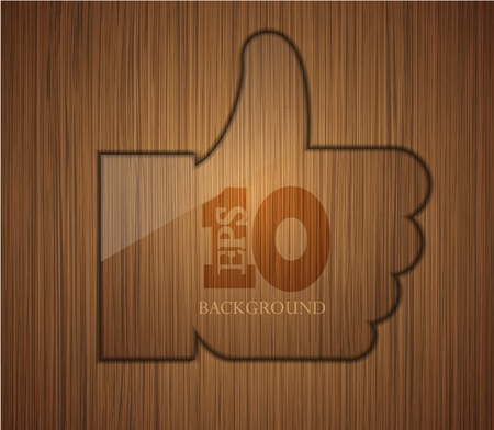 wooden thumbs up. Business background design. Easy to edit.  Vector