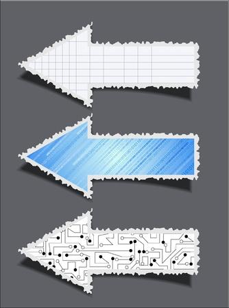snippet: business torn arrow set on grey background.  Illustration