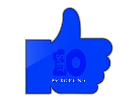 blue thumb up isolated on white.  Vector