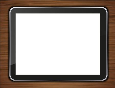 computer tablet on wooden background. Vector