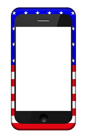 smartphone in a USA flag cover isolated on white.  Vector