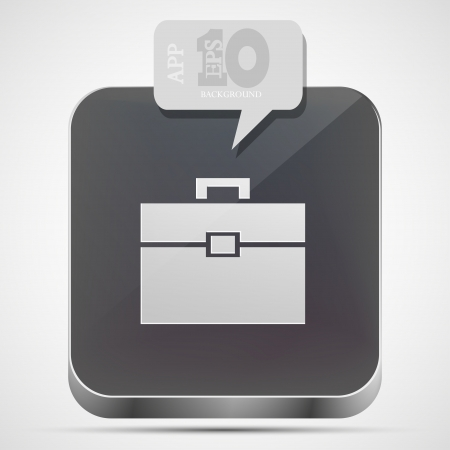 briefcase app icon with gray bubble speech.  Vector