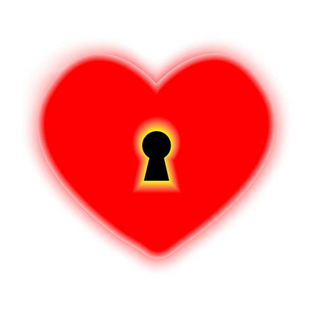 concept heart with keyhole on white background.  Vector