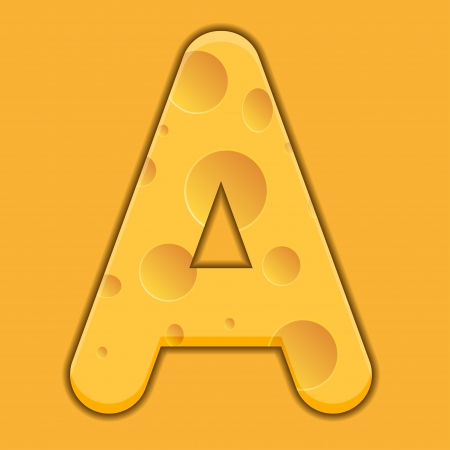 cheese letter A on orange background. Vector