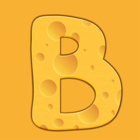 cheese letter B on orange background Vector