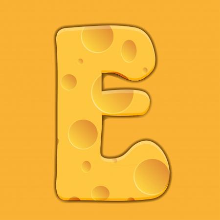 cheese letter E on orange background. Illustration