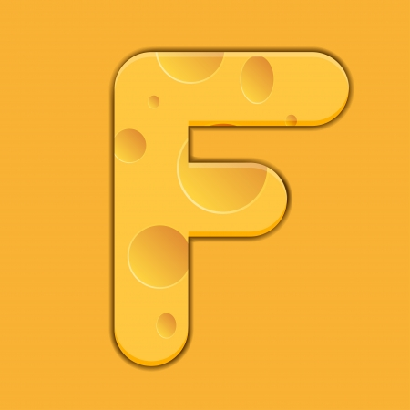 cheese letter F on orange background. Vector