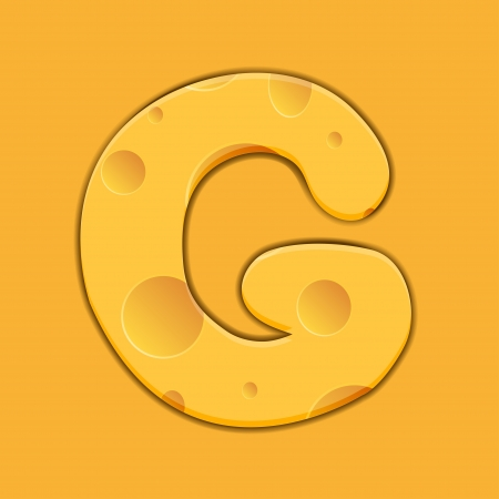 cheese letter G on orange background. Vector