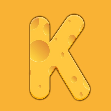 cheese letter K on orange background Vector