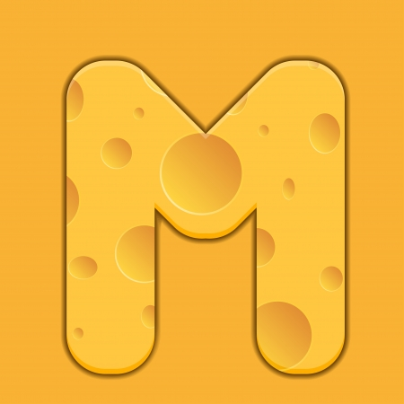 cheese letter M on orange background. Vector