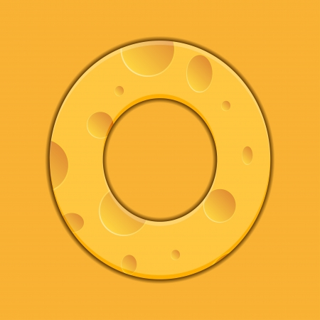 cheese letter O on orange background. Vector