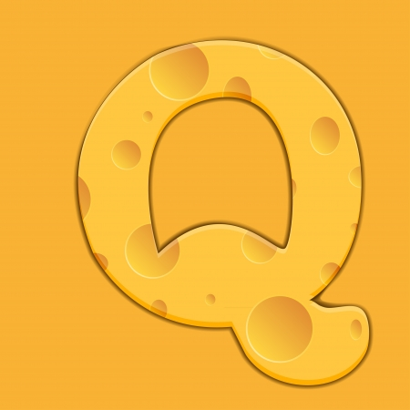 cheese letter Q on orange background. Vector