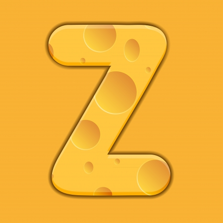 cheese letter Z on orange background. Vector