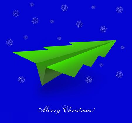 concept of the Christmas tree and origami airplane.  Vector
