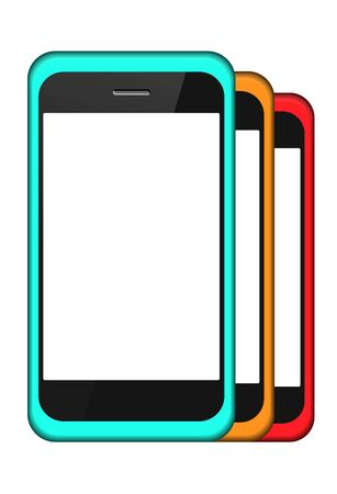 smartphone in a cover set isolated on white Vector