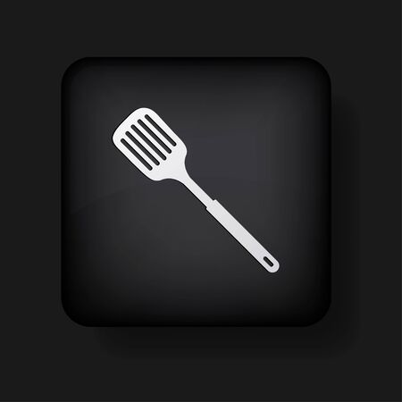 slotted kitchen spoon icon on black Vector