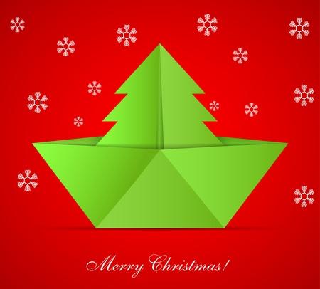 concept van de kerstboom en origami boot Stock Illustratie