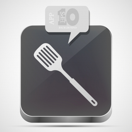 heatproof: Vector slotted kitchen spoon app icon with gray bubble speech.